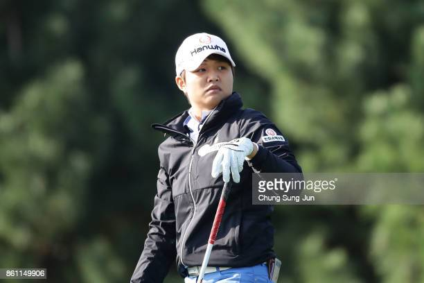 Haru Nomura of Japan on the 2nd hole during the third round of the LPGA KEB Hana Bank Championship at the Sky 72 Golf Club Ocean Course on October 14...