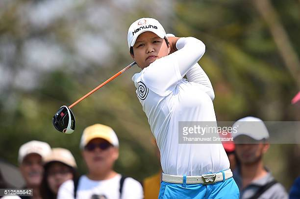 Haru Nomura of Japan plays a shot during day three of the 2016 Honda LPGA Thailand at Siam Country Club on February 27 2016 in Chon Buri Thailand