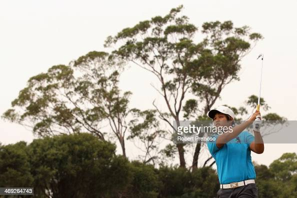 Haru Nomura of Japan plays a shot on the 10th hole during the second round of the ISPS Handa Women's Australian Open at The Victoria Golf Club on...
