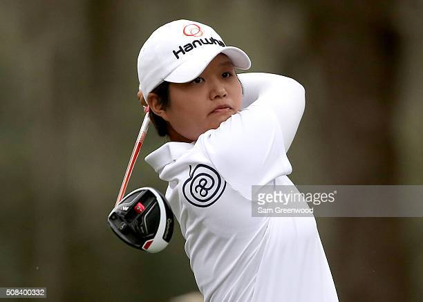 Haru Nomura of Japan plays a shot on the 18th hole during the second round of the Coates Golf Championship Presented By RL Carriers at Golden Ocala...