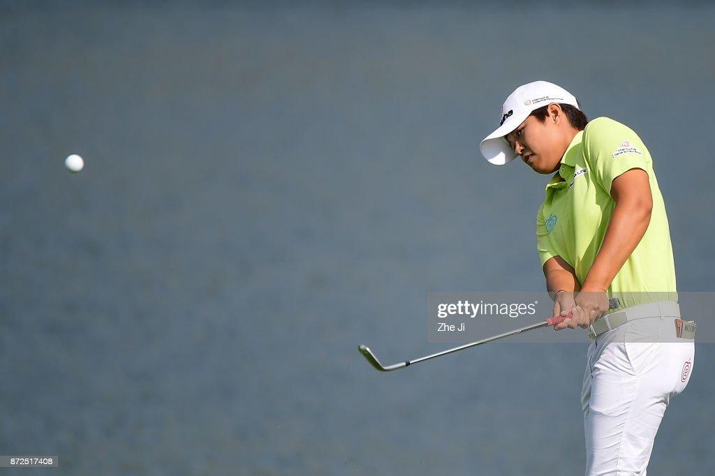 Haru Nomura of Japan plays a shot on the 7th hole during the third round of the Blue Bay LPGA at Jian Lake Blue Bay golf course on November 10, 2017 in Hainan Island, China.