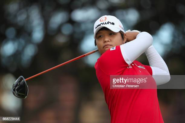 Haru Nomura of Japan plays a tee shot on the first hole during the second round of the LPGA LOTTE Championship Presented By Hershey at Ko Olina Golf...