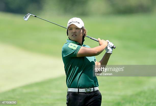 Haru Nomura of Japan plays her second shot on the par 5 12th hole during the third round of the 2015 KPMG Women's PGA Championship on the West Course...