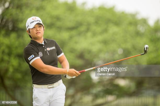 Haru Nomura of Japan plays her tee shot at the second hole during the third round of the Volunteers of America North Texas Shootout at Las Colinas...