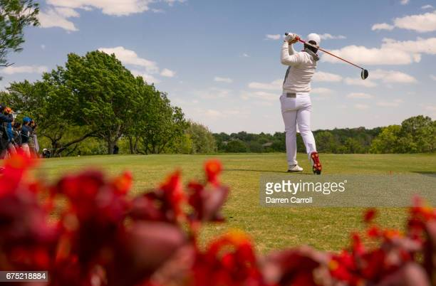 Haru Nomura of Japan plays her tee shot at the tenth hole during the final round of the Volunteers of America North Texas Shootout at Las Colinas...
