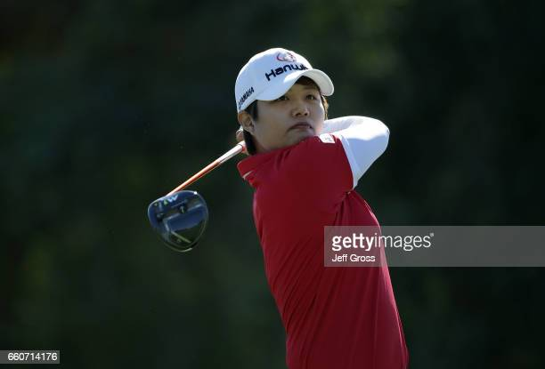 Haru Nomura of Japan plays her tee shot on the 16th hole during the first round of the ANA Inspiration at the Dinah Shore Tournament Course at...