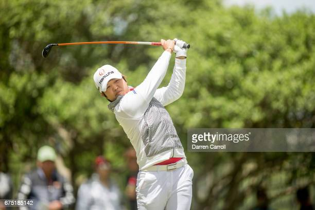 Haru Nomura of Japan plays her tee shot on the second hole during the final round of the Volunteers of America North Texas Shootout at Las Colinas...