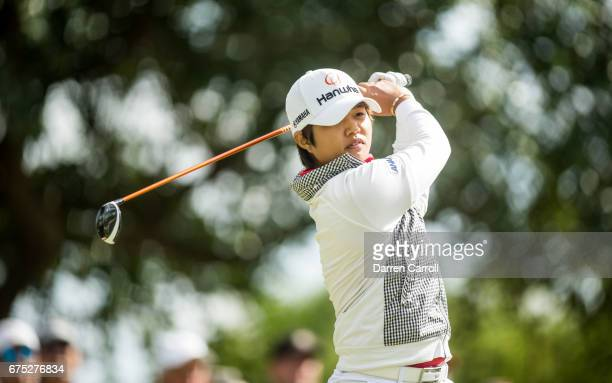 Haru Nomura of Japan plays her third shot at the 15th hole during the final round of the Volunteers of America North Texas Shootout at Las Colinas...