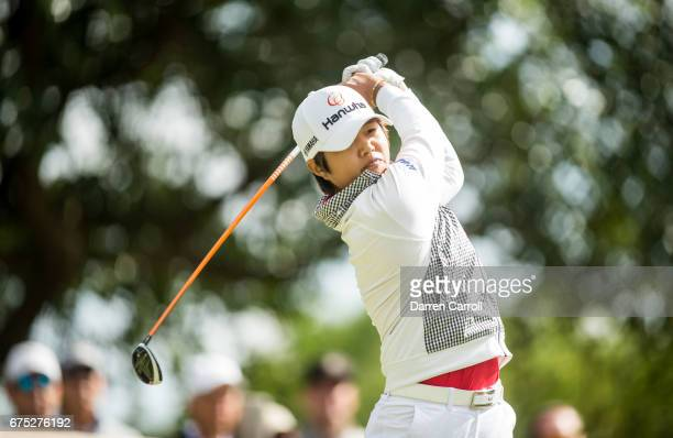 Haru Nomura of Japan plays her third shot at the fifteenth hole during the final round of the Volunteers of America North Texas Shootout at Las...