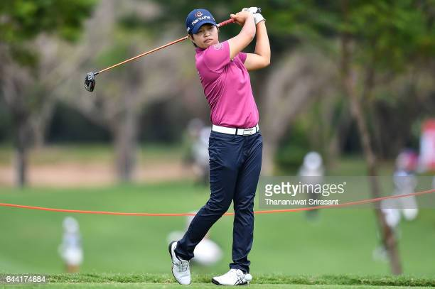 Haru Nomura of Japan plays the shot during round one of the Honda LPGA Thailand at Siam Country Club on February 23 2017 in Chonburi Thailand