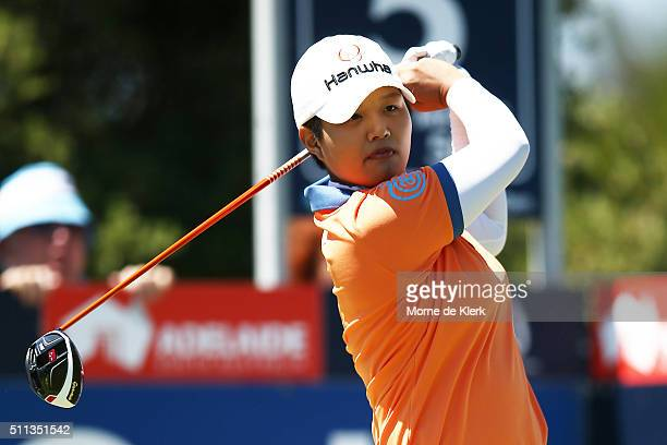 Haru Nomura of Japan tees off during day three of the ISPS Handa Women's Australian Open at The Grange GC on February 20 2016 in Adelaide Australia