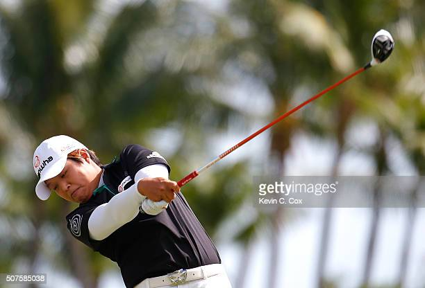 Haru Nomura of Japan tees off the second hole during the third round of the Pure Silk Bahamas LPGA Classic at the Ocean Club Golf Course on January...