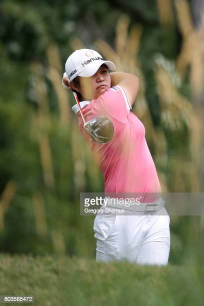 Haru Nomura of Japan watches her tee shot on the 16th hole during the first round of the 2017 KPMG PGA Championship at Olympia Fields Country Club on...