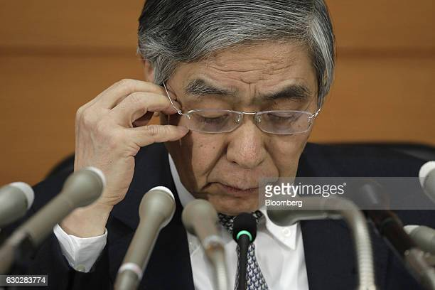Haruhiko Kuroda governor of the Bank of Japan attends a news conference at the central bank's headquarters in Tokyo Japan on Tuesday Dec 20 2016 The...