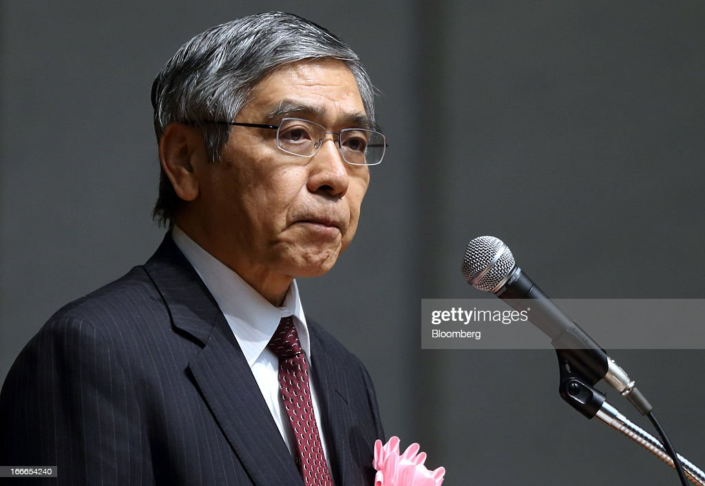 <a gi-track='captionPersonalityLinkClicked' href=/galleries/search?phrase=Haruhiko+Kuroda&family=editorial&specificpeople=649295 ng-click='$event.stopPropagation()'>Haruhiko Kuroda</a>, governor of the Bank of Japan (BOJ), attends the annual meeting of the Trust Companies Association of Japan in Tokyo, Japan, on Monday, April 15, 2013. Kuroda reiterated today that he has a two-year time horizon in mind for achieving his inflation goal. He will also speak today at the annual meeting. Photographer: Tomohiro Ohsumi/Bloomberg via Getty Images