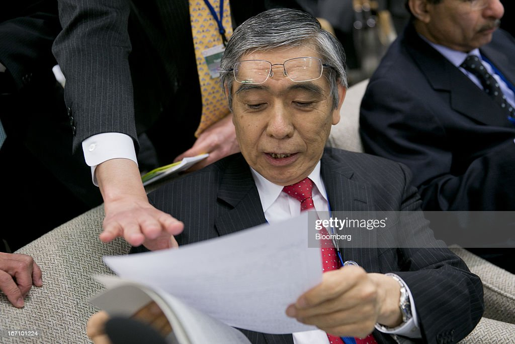 <a gi-track='captionPersonalityLinkClicked' href=/galleries/search?phrase=Haruhiko+Kuroda&family=editorial&specificpeople=649295 ng-click='$event.stopPropagation()'>Haruhiko Kuroda</a>, governor of the Bank of Japan (BOJ), attends the International Monetary and Financial Committee (IMFC) meeting during the International Monetary Fund (IMF) and World Bank Group Spring Meetings in Washington, D.C., U.S., on Saturday, April 20, 2013. The IMF's Managing Director said the euro area has the only central bank with enough leeway to take more measures to boost growth as low interest rates fail to trickle down to the region's economy. Photographer: Andrew Harrer/Bloomberg via Getty Images