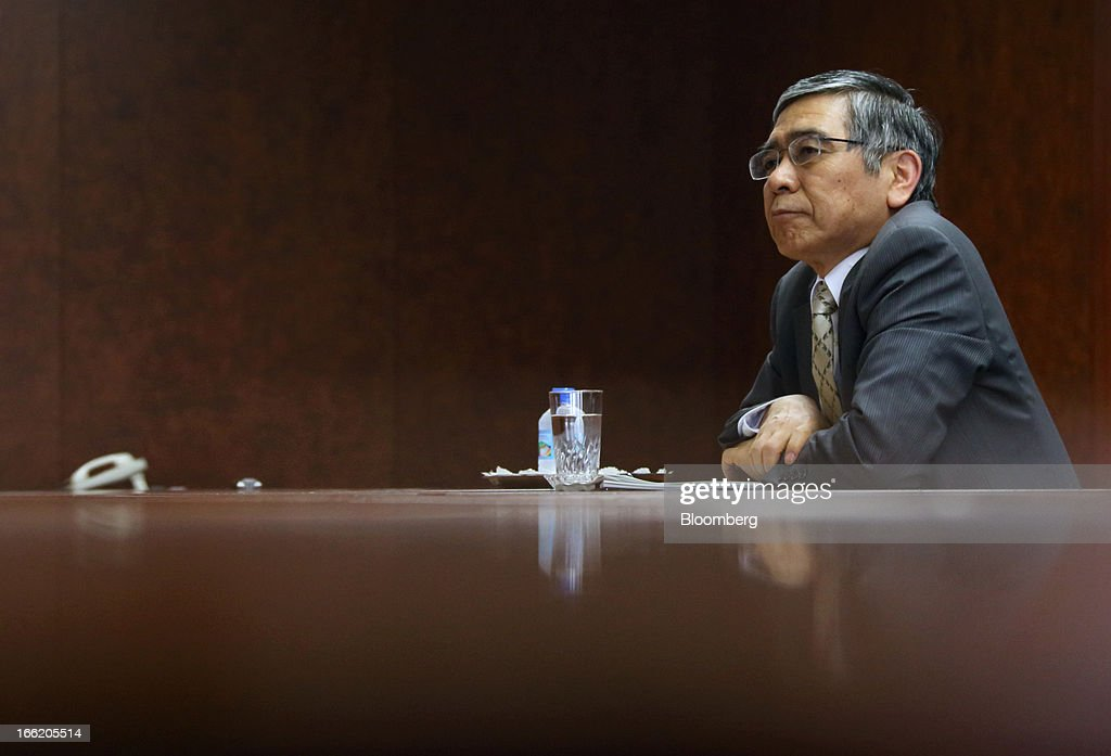 <a gi-track='captionPersonalityLinkClicked' href=/galleries/search?phrase=Haruhiko+Kuroda&family=editorial&specificpeople=649295 ng-click='$event.stopPropagation()'>Haruhiko Kuroda</a>, governor of the Bank of Japan (BOJ), listens during a group interview at the central bank's headquarters in Tokyo, Japan, on Wednesday, April 10, 2013. Kuroda said that the central bank will take all measures necessary to meet a 2 percent inflation target even as he indicated policy adjustments are unlikely every month. Photographer: Tomohiro Ohsumi/Bloomberg via Getty Images