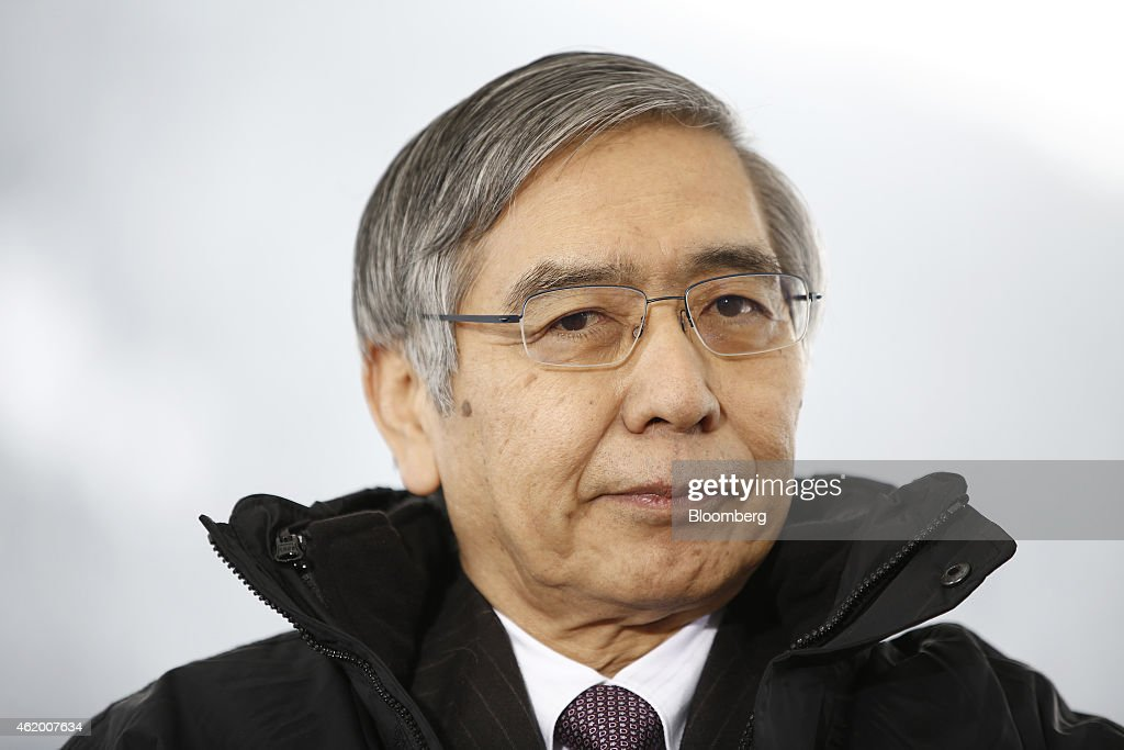 Haruhiko Kuroda, governor of the Bank of Japan (BOJ), pauses during a Bloomberg Television interview on day three of the World Economic Forum (WEF) in Davos, Switzerland, on Friday, Jan. 23, 2015. World leaders, influential executives, bankers and policy makers attend the 45th annual meeting of the World Economic Forum in Davos from Jan. 21-24. Photographer: Simon Dawson/Bloomberg via Getty Images