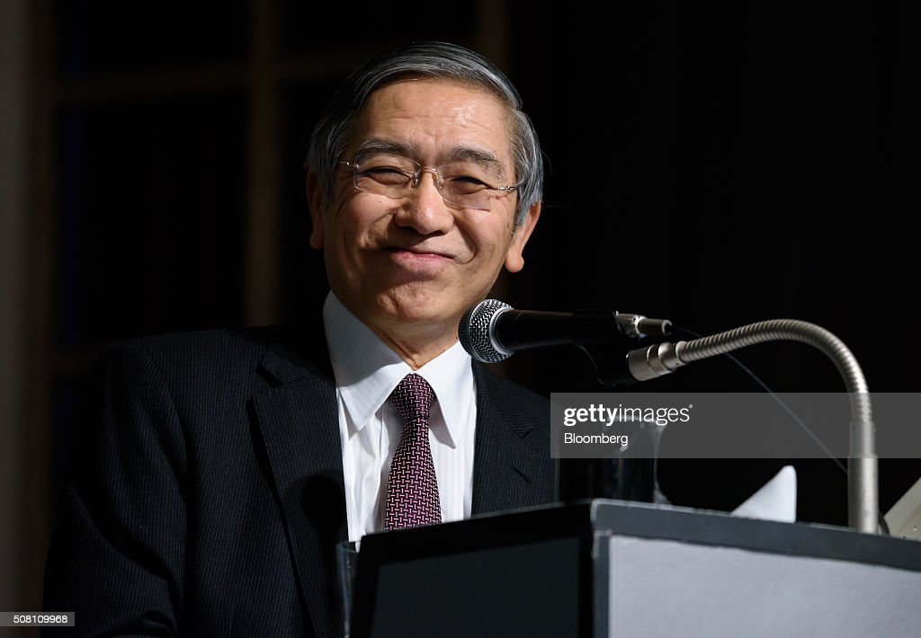 Haruhiko Kuroda, governor of the Bank of Japan (BOJ), reacts at a meeting hosted by Kyodo News in Tokyo, Japan, on Wednesday, February 3, 2016. Kuroda, in his first public speech after the central bank unexpectedly decided on Jan. 29 to adopt a negative interest rate strategy, said that the BOJ will take additional easing measures if needed. Photographer: Akio Kon/Bloomberg via Getty Images