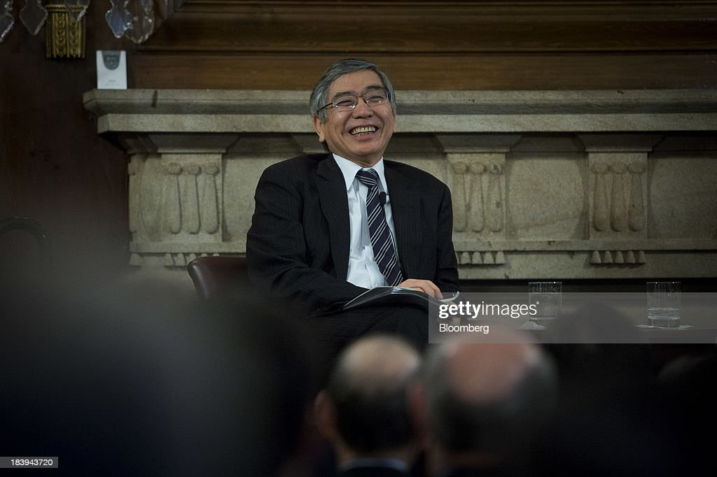 Haruhiko Kuroda, governor of the Bank of Japan (BOJ), smiles at an event at the Council On Foreign Relations in New York, U.S., on Thursday, Oct. 10, 2013. Kuroda said the bank will do what is necessary to defeat deflation, while declining to discuss specific additional measures it might take. Photographer: Scott Eells/Bloomberg via Getty Images