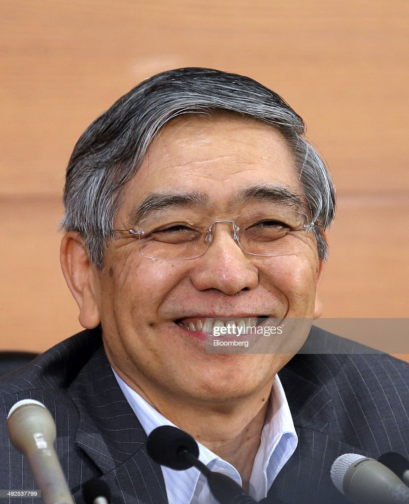 <a gi-track='captionPersonalityLinkClicked' href=/galleries/search?phrase=Haruhiko+Kuroda&family=editorial&specificpeople=649295 ng-click='$event.stopPropagation()'>Haruhiko Kuroda</a>, governor of the Bank of Japan (BOJ), smiles during a news conference at the central bank's headquarters in Tokyo, Japan, on Wednesday, May 21, 2014. Japan's central bank refrained from boosting stimulus and raised its view of business investment as the economy shows signs of weathering the impact of the first sales-tax increase since 1997. Photographer: Tomohiro Ohsumi/Bloomberg via Getty Images