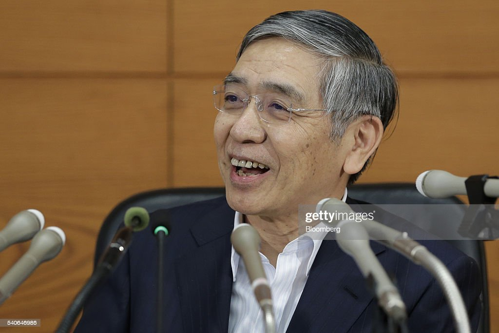 <a gi-track='captionPersonalityLinkClicked' href=/galleries/search?phrase=Haruhiko+Kuroda&family=editorial&specificpeople=649295 ng-click='$event.stopPropagation()'>Haruhiko Kuroda</a>, governor of the Bank of Japan (BOJ), smiles during a news conference at the central bank's headquarters in Tokyo, Japan, on Thursday, June 16, 2016. The BOJ refrained from expanding monetary stimulus ahead of the U.K. vote on Brexit next week that could roil global markets, and before a domestic election in which the political opposition has made the bank's negative interest-rate policy an issue. Photographer: Kiyoshi Ota/Bloomberg via Getty Images