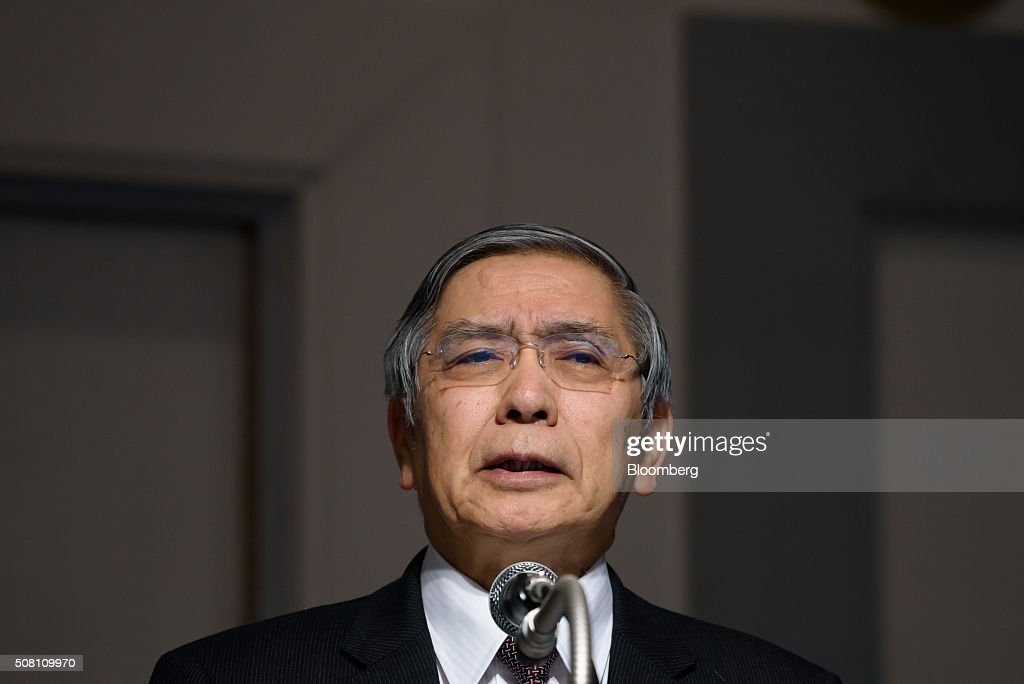 Haruhiko Kuroda, governor of the Bank of Japan (BOJ), speaks at a meeting hosted by Kyodo News in Tokyo, Japan, on Wednesday, February 3, 2016. Kuroda, in his first public speech after the central bank unexpectedly decided on Jan. 29 to adopt a negative interest rate strategy, said that the BOJ will take additional easing measures if needed. Photographer: Akio Kon/Bloomberg via Getty Images