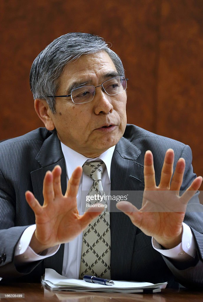 <a gi-track='captionPersonalityLinkClicked' href=/galleries/search?phrase=Haruhiko+Kuroda&family=editorial&specificpeople=649295 ng-click='$event.stopPropagation()'>Haruhiko Kuroda</a>, governor of the Bank of Japan (BOJ), speaks during a group interview at the central bank's headquarters in Tokyo, Japan, on Wednesday, April 10, 2013. Kuroda said that the central bank will take all measures necessary to meet a 2 percent inflation target even as he indicated policy adjustments are unlikely every month. Photographer: Tomohiro Ohsumi/Bloomberg via Getty Images