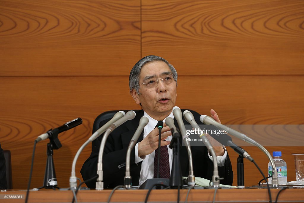 Haruhiko Kuroda, governor of the Bank of Japan (BOJ), speaks during a news conference at the central bank's headquarters in Tokyo, Japan, on Friday, Jan. 29, 2016. Kuroda sprung another surprise on investors by adopting a negative interest-rate strategy to spur banks to lend in the face of a weakening economy. Photographer: Tomohiro Ohsumi/Bloomberg via Getty Images