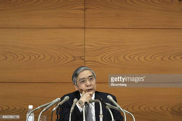 Haruhiko Kuroda governor of the Bank of Japan speaks during a news conference at the central bank's headquarters in Tokyo Japan on Tuesday Dec 20...