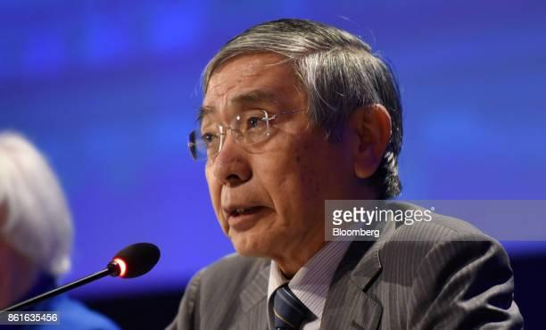 Haruhiko Kuroda governor of the Bank of Japan speaks during the Group of Thirty International Banking Seminar in Washington DC US on Sunday Oct 15...
