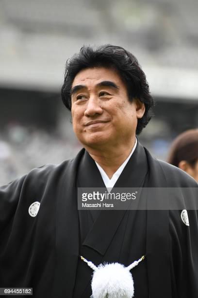 Haruhisa Handa looks on prior to the JLeague J2 match between Tokyo Verdy and Nagoya Grampus at Ajinomoto Stadium on June 10 2017 in Chofu Tokyo Japan