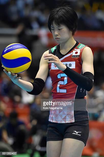 Haruka Miyashita looks during the Women's World Olympic Qualification game between Japan and Peru at Tokyo Metropolitan Gymnasium on May 14 2016 in...