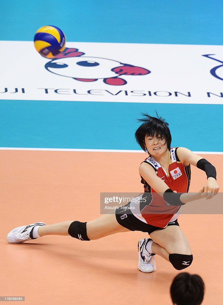 <a gi-track='captionPersonalityLinkClicked' href=/galleries/search?phrase=Haruka+Miyashita&family=editorial&specificpeople=11306800 ng-click='$event.stopPropagation()'>Haruka Miyashita</a> of Japan in action during day one of the FIVB World Grand Prix Sapporo 2013 match between Japan and Italy at Hokkaido Prefectural Sports Center on August 28, 2013 in Sapporo, Hokkaido, Japan.