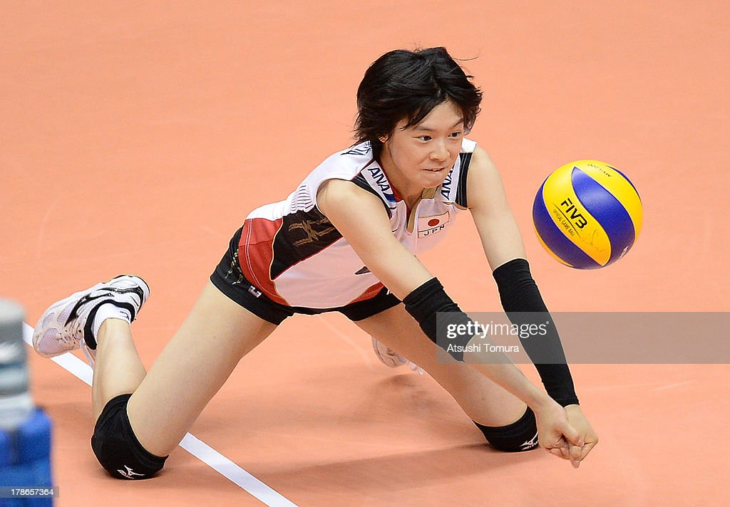 <a gi-track='captionPersonalityLinkClicked' href=/galleries/search?phrase=Haruka+Miyashita&family=editorial&specificpeople=11306800 ng-click='$event.stopPropagation()'>Haruka Miyashita</a> of Japan in action during day three of the FIVB World Grand Prix Sapporo 2013 match between Serbia and Japan at Hokkaido Prefectural Sports Center on August 30, 2013 in Sapporo, Hokkaido, Japan.