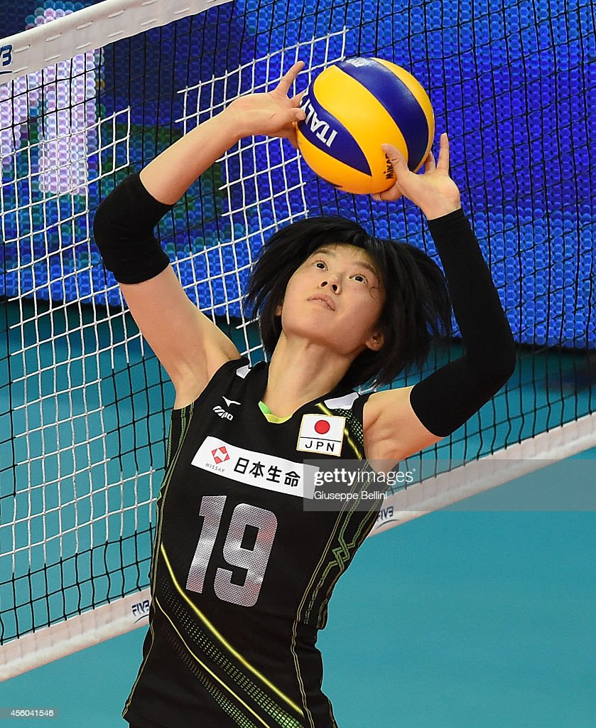 <a gi-track='captionPersonalityLinkClicked' href=/galleries/search?phrase=Haruka+Miyashita&family=editorial&specificpeople=11306800 ng-click='$event.stopPropagation()'>Haruka Miyashita</a> of Japan in action during the FIVB Women's World Championship pool D match between Belgium and Japan on September 24, 2014 in Bari, Italy .