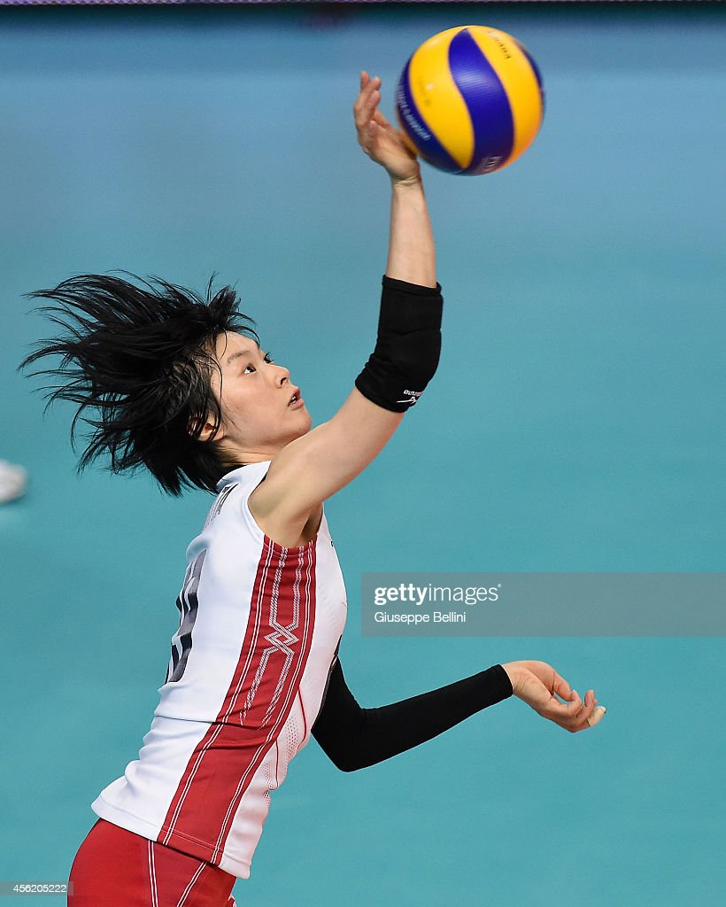 <a gi-track='captionPersonalityLinkClicked' href=/galleries/search?phrase=Haruka+Miyashita&family=editorial&specificpeople=11306800 ng-click='$event.stopPropagation()'>Haruka Miyashita</a> of Japan in action during the FIVB Women's World Championship pool D match between Japan AND Puerto Rico on September 27, 2014 Bari, Italy.