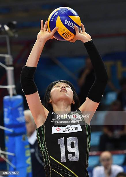 Haruka Miyashita of Japan in action during the FIVB Women's World Championship pool D match between Japan and China on September 28 2014 in BariItaly