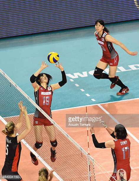Haruka Miyashita of Japan in action during the FIVB World Grand Prix Final group one match between Belgium and Japan on August 23 2014 in Tokyo Japan