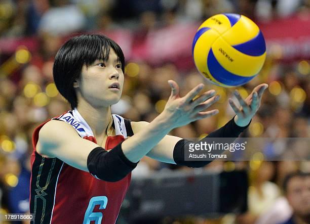 Haruka Miyashita of Japan serves during day four of the FIVB World Grand Prix Sapporo 2013 match between Japan and China at Hokkaido Prefectural...