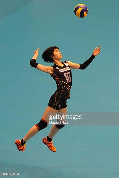Haruka Miyashita of Japan serves during the match between Japan and Serbia during the FIVB Women's Volleyball World Cup Japan 2015 at Sendai City...