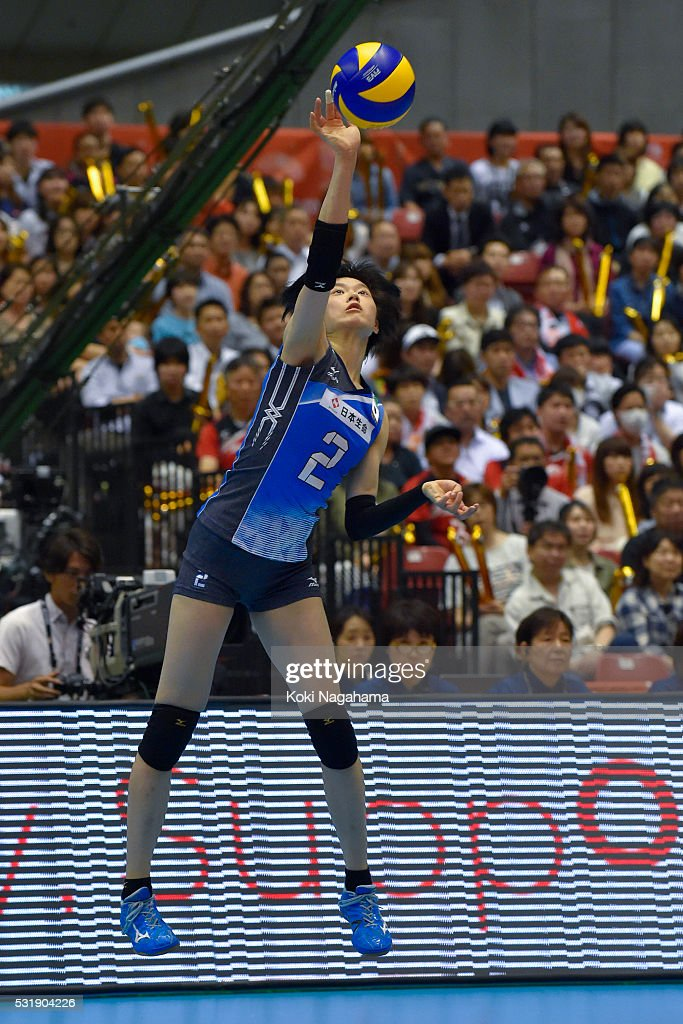 <a gi-track='captionPersonalityLinkClicked' href=/galleries/search?phrase=Haruka+Miyashita&family=editorial&specificpeople=11306800 ng-click='$event.stopPropagation()'>Haruka Miyashita</a> #2 of Japan serves the ball during the Women's World Olympic Qualification game between South Korea and Japan at Tokyo Metropolitan Gymnasium on May 17, 2016 in Tokyo, Japan.