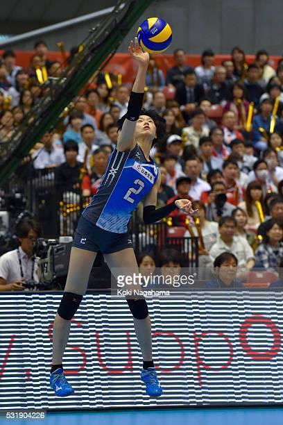 Haruka Miyashita of Japan serves the ball during the Women's World Olympic Qualification game between South Korea and Japan at Tokyo Metropolitan...