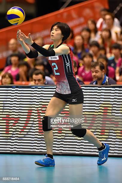 Haruka Miyashita of Japan serves the ball during the Women's World Olympic Qualification game between Japan and Italy at Tokyo Metropolitan Gymnasium...