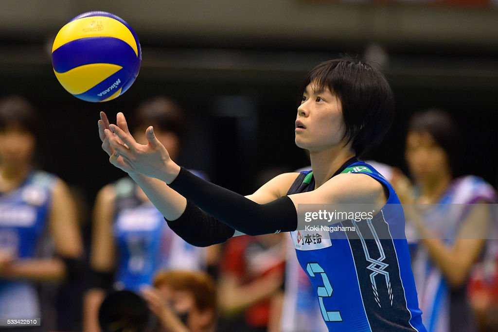 <a gi-track='captionPersonalityLinkClicked' href=/galleries/search?phrase=Haruka+Miyashita&family=editorial&specificpeople=11306800 ng-click='$event.stopPropagation()'>Haruka Miyashita</a> #2 of Japan serves the ball during the Women's World Olympic Qualification game between Netherlands and Japan at Tokyo Metropolitan Gymnasium on May 22, 2016 in Tokyo, Japan.