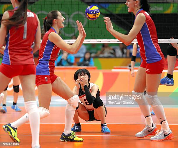 Haruka Miyashita of Japan shows her dejection after a point during the Women's preliminary volleyball match between Japan and Russia on Day 7 of the...