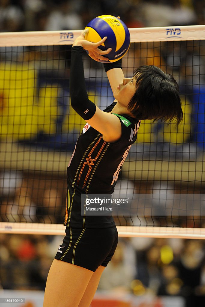 <a gi-track='captionPersonalityLinkClicked' href=/galleries/search?phrase=Haruka+Miyashita&family=editorial&specificpeople=11306800 ng-click='$event.stopPropagation()'>Haruka Miyashita</a> of Japan tosses in warm up prior to the match between Japan and Serbia during the FIVB Women's Volleyball World Cup Japan 2015 at Sendai City Gymnasium on September 1, 2015 in Sendai, Japan.