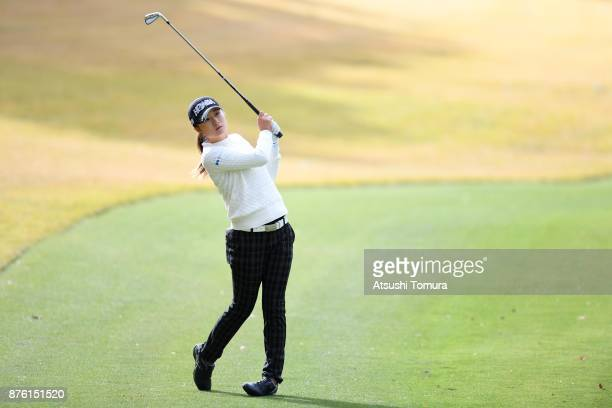 Haruka Morita of Japan hits her second shot on the 15th hole during the final round of the Daio Paper Elleair Ladies Open 2017 at the Elleair Golf...