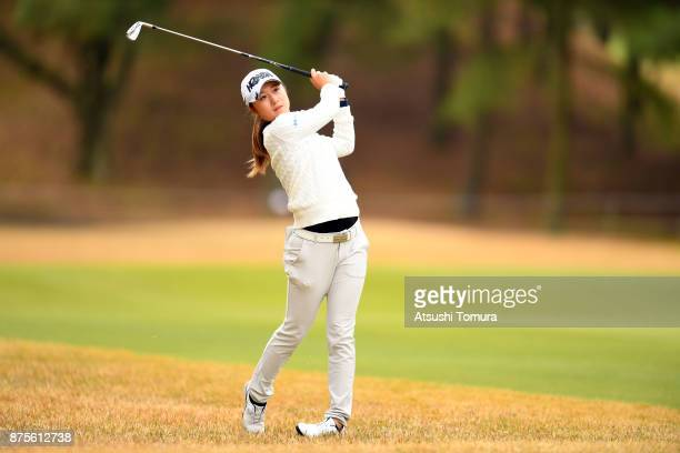Haruka Morita of Japan hits her second shot on the 18th hole during the third round of the Daio Paper Elleair Ladies Open 2017 at the Elleair Golf...