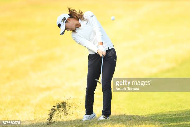 Haruka Morita of Japan hits her second shot on the 3rd hole during the first round of the LPGA Tour Championship Ricoh Cup 2017 at the Miyazaki...